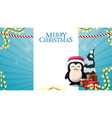 christmas blue blank template for postcard vector image vector image