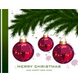 christmas card with fir tree and baubles vector image vector image