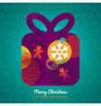 Christmas Gift Box with lettering on background vector image