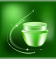 cream jar with glares and light on the vector image