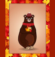 cute bear in red knitted scarf and hat holding vector image vector image
