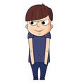 cute cartoon boy with smug emotions vector image vector image