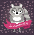 cute raccoon in love vector image vector image