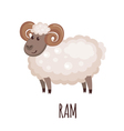 Cute ram in flat style vector image vector image