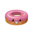 delicious donut dessert cute kawaii cartoon vector image