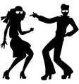 Disco dancers silhouette vector image vector image