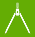 drawing compass icon green vector image vector image