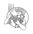 farmer holding hen pitchfork zentagle vector image vector image