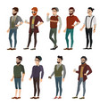 fashionable boy hipster vector image