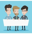 Group of young men holding white blank board vector image vector image