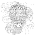 Hand drawn doodle outline air baloon in flight vector image vector image