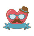 heart with glasses hat and moustache vector image vector image