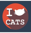 I love cats flat retro vintage icon vector image vector image