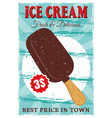 ice cream popsicle on stick colored vintage poster vector image