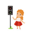 lovely girl pointing finger at pedestrian traffic vector image vector image