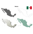 Mexico outline map set vector image vector image