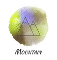 Nature Landscape Mountain Watercolor Concept vector image