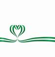 nigerian flag heart-shaped ribbon vector image vector image