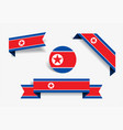 north korean flag stickers and labels vector image vector image