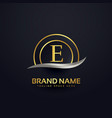 premium letter e logo design golden template vector image