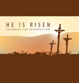 religious landscape with crosses and inscription vector image vector image