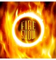 Ring of fire fiery circle on poster for vector image vector image