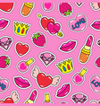 seamless pattern with heart nail polish lipstick vector image vector image