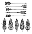 set arrows and feathers on white background vector image