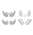 set black angel wings and outline icons