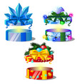 set gift boxes with ribbon bow colorful vector image