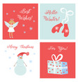 set simple cards with symbols christmas vector image