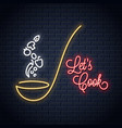 soup ladle with vegetables neon sign cooking vector image vector image
