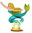 statue of a young beautiful mermaid girl isolated vector image