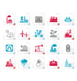 stylized electricity and energy source icons vector image vector image