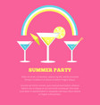 summer party poster with martini glasses vector image
