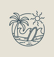 surfer paradise beach stamp in line art style vector image vector image