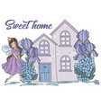 sweet home cartoon wedding clipart color vector image vector image
