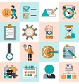 Time management icons flat line vector image vector image