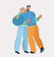two man standing hugging vector image