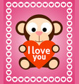valentines day background with monkey vector image vector image