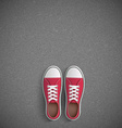 Vintage sneakers stand on asphalt vector image vector image