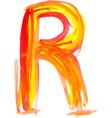 Watercolor Font LETTER R vector image