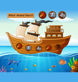 wood boat sailing with animals theme vector image vector image