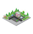isometric city street and store vector image
