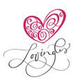 lovingli text and heart love you postcard phrase vector image
