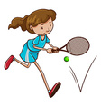 A girl playing tennis vector image vector image