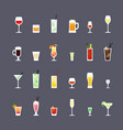 alcoholic drinks and cocktails flat icons set vector image