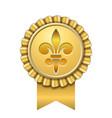 award ribbon gold icon golden medal fleur de lis vector image vector image
