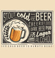 beer poster menu with creative lettering and beer vector image vector image