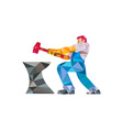 Blacksmith Worker Striking Hammer Anvil Low vector image vector image